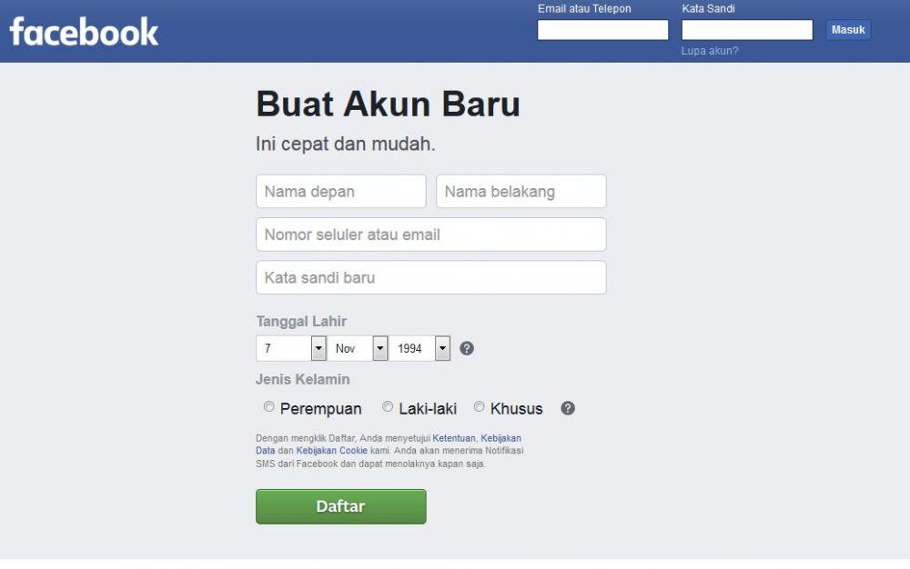 langkah membuat akun facebook twitter instagram linkedIn baru menggunakan komputer smartphone